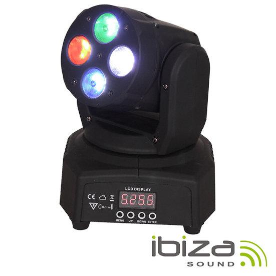 Moving Head Mini 4 LEDS 10W RGBW DMX Mic 50W IBIZA  LMH350RGBW-MINI