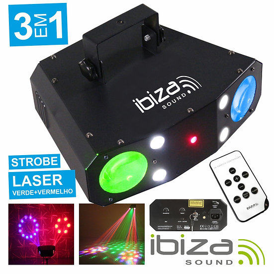Projetor Luz C/ LED RGBW 20W E Laser Verm/Verde Mic IBIZA COMBO-3IN1