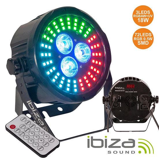 Projetor Luz C/ 3 LEDS 18W RGBAW-UV + 72 LEDS DMX IBIZA PARLED318-FX2