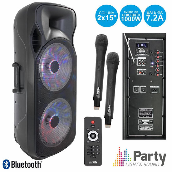"Coluna Amplificada 2x15"" 1000W USB/FM/BT/SD/Bat Uhf PretaPARTY-215LED-MKII"