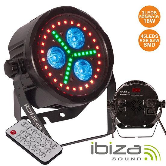 Projetor Luz C/ 3 LEDS 18W RGBAW-UV + 45 LEDS DMX IBIZA PARLED318-FX1