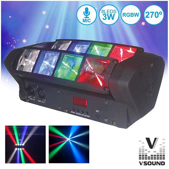 Projetor Luz C/ 8 LEDS 3W CREE RGBW 2 Barras DMX VSOUND VSPROJ83RGBW