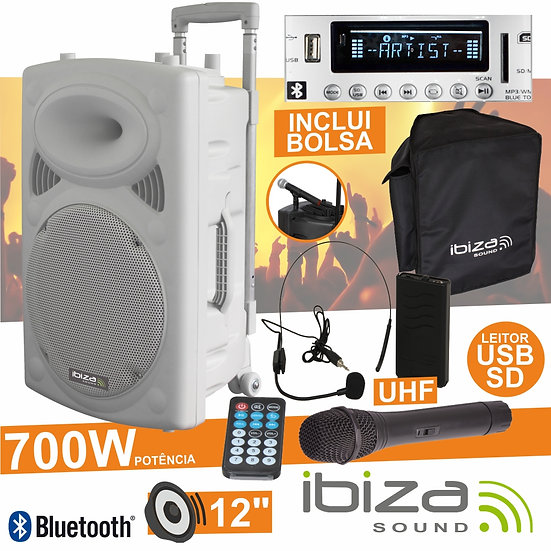 "Coluna Amplificada 12"" 700W USB/BT/SD/Bat Uhf Branco IBIZA PORT12UHF-BT-WH"