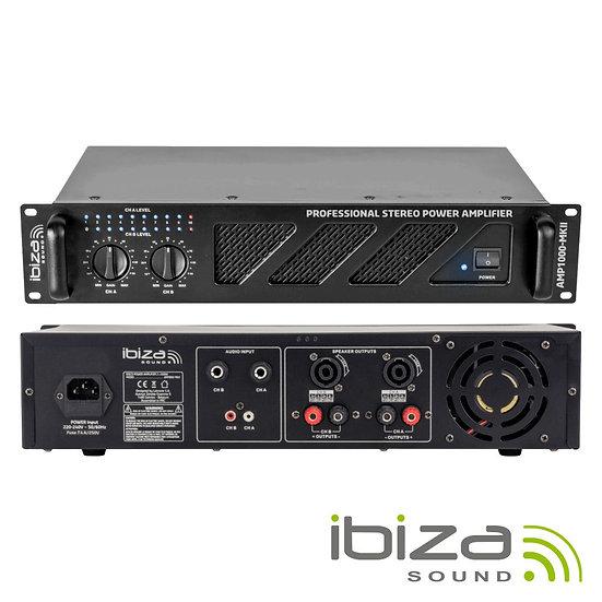 """Amplificador Áudio 19"""" 2x800W Preto IBIZA  AMP1000-MKII"""