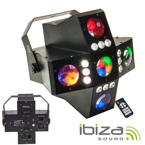 Projetor Luz 2em1 RGBA LED DMX IBIZA CROSS-GOBOFX