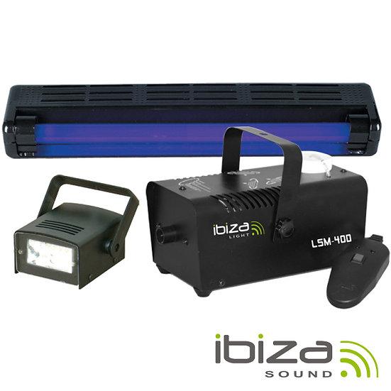 Pack Maquina Fumos 400W / Strobe LED / Luz UV 46cm IBIZA