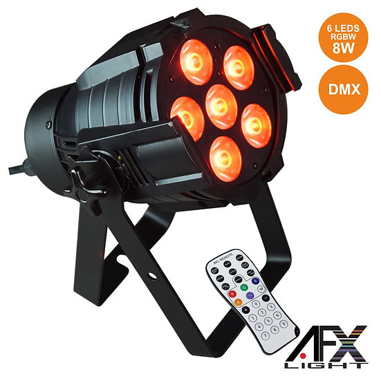 Projetor Luz C/ 6 LEDS 8W RGBAW Comando DMX AFXLIGHT PARLED608IR