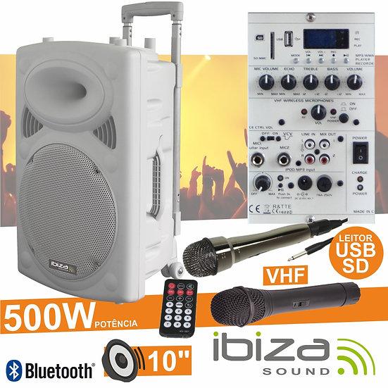 "Coluna Amplificada 10"" 500W USB/BT/SD/Bat Vhf Branco IBIZA PORT10VHF-BT-WH"