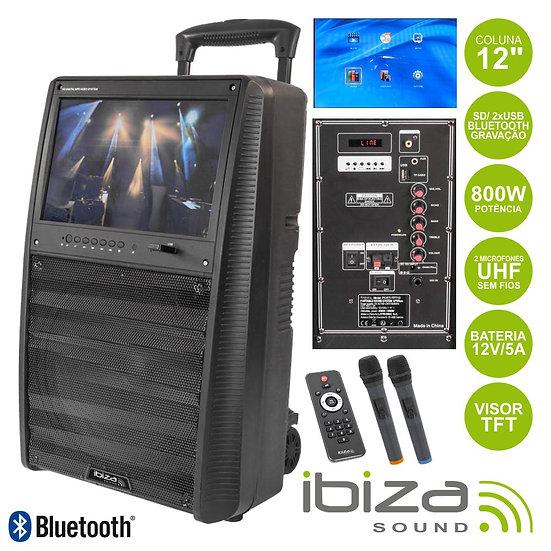 "Coluna Amplificada 12"" 800W USB/BT/Mp5/Bat Uhf Preta IBIZA PORT-TFT12"