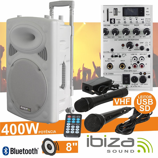"Coluna Amplificada 8"" 400W USB/BT/SD/Bat Vhf Branco IBIZA PORT8VHF-BT-WH"