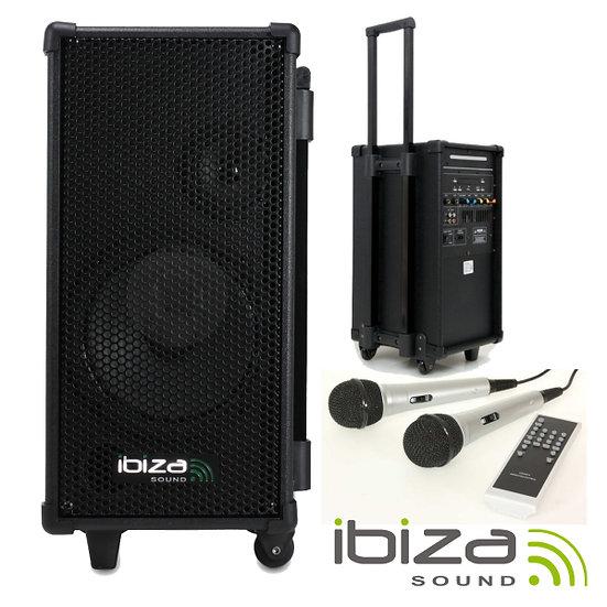 Coluna Amplificada Karaoke Portátil Leitor Cd/Usb/Mp3 IBIZA PORT8MINI