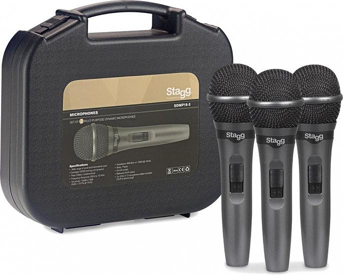 Conj 3 Microfones Dinâmico Stagg Sdmp15-3