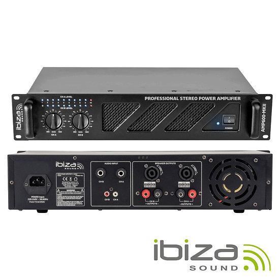 """Amplificador Áudio 19"""" 2x480W Preto IBIZA  AMP600-MKII"""