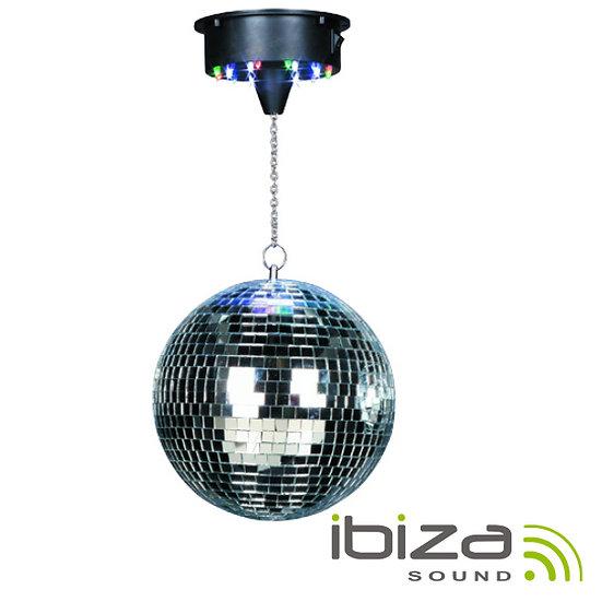Bola De Espelhos 20cm C/ Motor 18 LEDS RGBW IBIZA  DISCO1-20