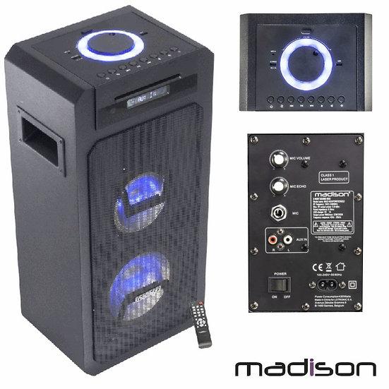 Coluna Amplificada 350W LEDS CD/USB/BT c/ Comando MADISONMAD-HIGHPOWER350