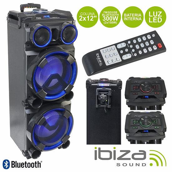"""Coluna Amplificada 2x12"""" 300W 1 Mic Aux/USB/Bat/BT/SD IBIZA STANDUP-DJ-MKII"""