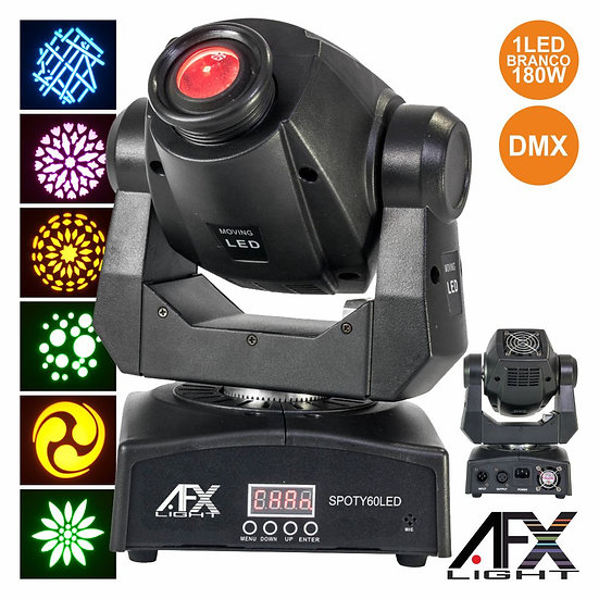Moving Head Spot 1 LED 60W Branco 2 Rodas Gobo DMX AFXLIGHT SPOTY60LED