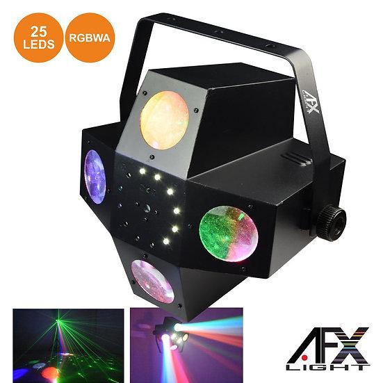 Projetor Luz C/ 25 LEDS 1W RGBWA 2 Laser DMX Mic AFXLIGHT COMET-FX