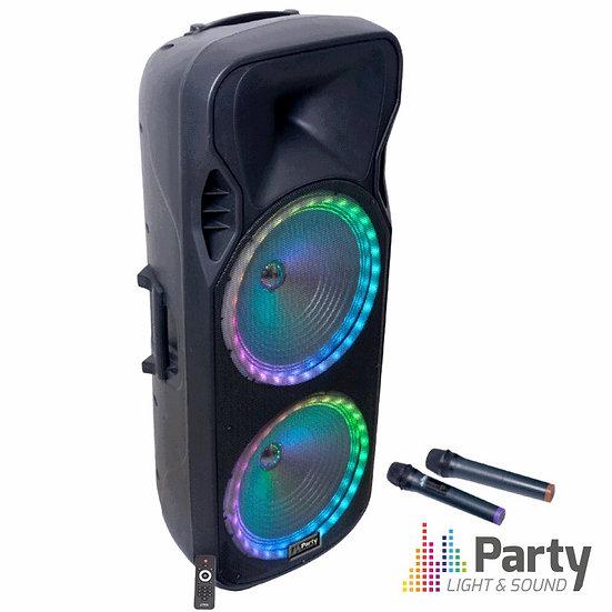 """Coluna Amplificada 2x15"""" 900W USB/FM/BT/SD/Bat Uhf PretaPARTY-215RGB"""