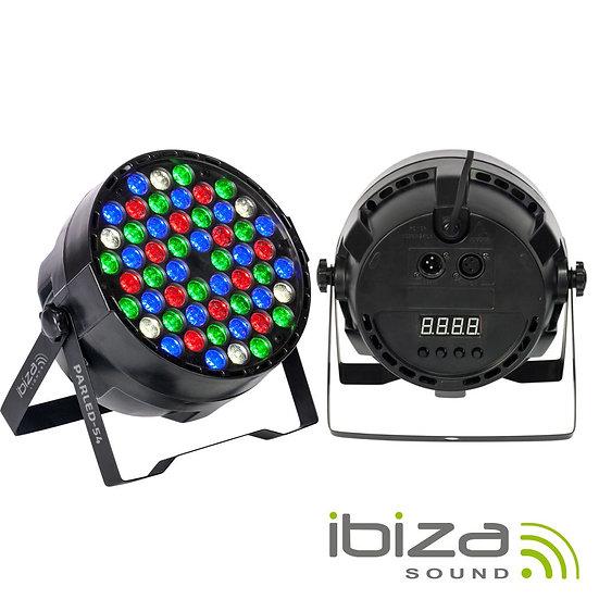 Projetor Luz C/ 54 LEDS 1W RGBW DMX IBIZA PARLED-54