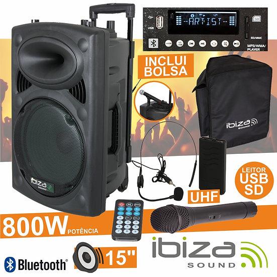 "Coluna Amplificada 15"" 800W USB/BT/SD/Bat Uhf Preta IBIZA PORT15UHF-BT"