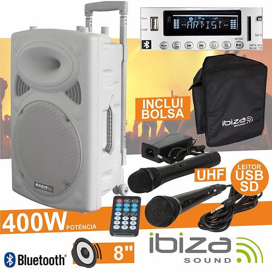 "Coluna Amplificada 10"" 500W USB/BT/SD/Bat Uhf Branco IBIZA PORT10UHF-BT-WH"