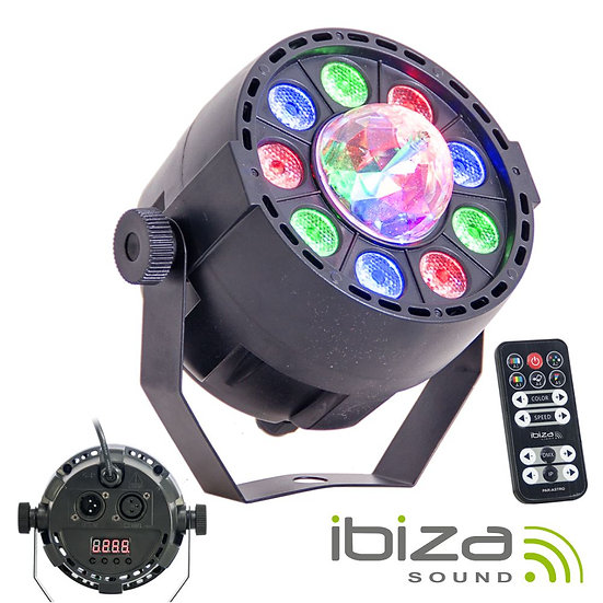 Projetor Luz C/ 9 LEDS RGBW DMX IBIZA PAR-ASTRO