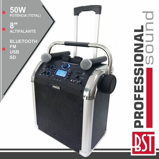 "Coluna Amplificada 8"" USB/FM Pll/BT/SD/Bat LEDS Preta DENVERTSP-110"