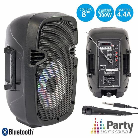 "Coluna Amplificada 8"" 300W USB/FM/BT/SD/Bat PretaPARTY-8LED"
