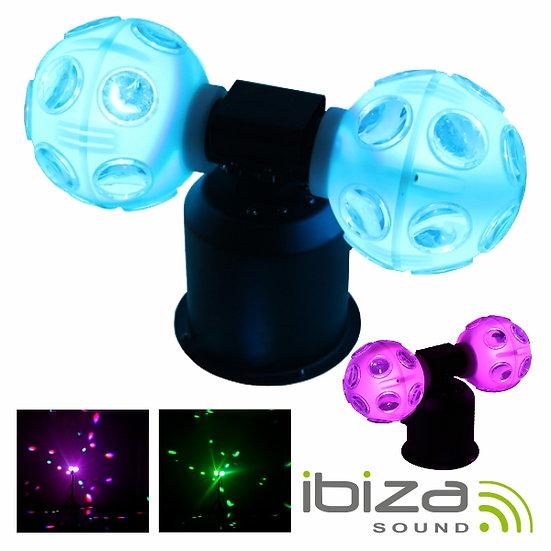 Projetor Luz C/ 2 Bolas Rotativas 4 LEDS RGB 9W IBIZA TWIN-ROTOLED