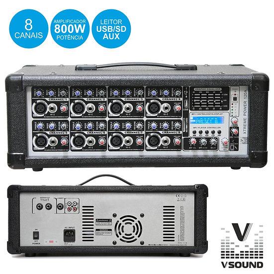 Amplificador Áudio Profissional 8 Canais 800Wmáx VSOUND  XTREME POWER 120A
