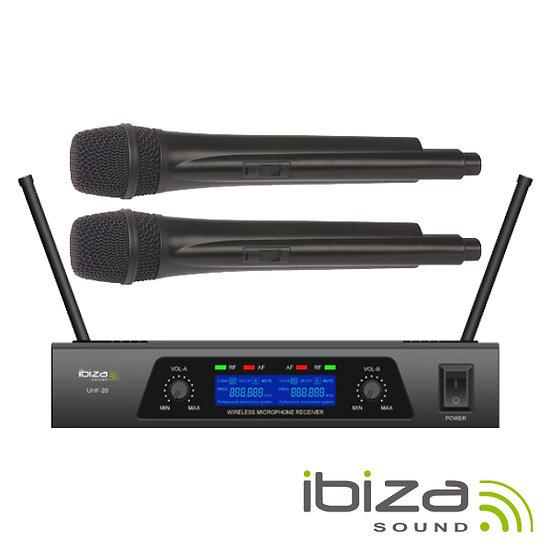Central Microfones S/ Fios 2 Canais Uhf 863.9/864.9Mhz Ibiza
