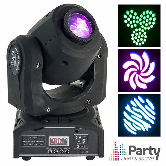 Moving Head Mini 1 LED CREE Branco 10W Gobo DMX Mic PARTY PARTY-SPOT7