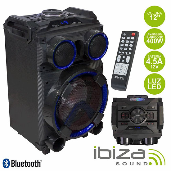 "Coluna Amplificada 12"" 400W Comando USB/BT/SD/FM IBIZA STANDUP12"