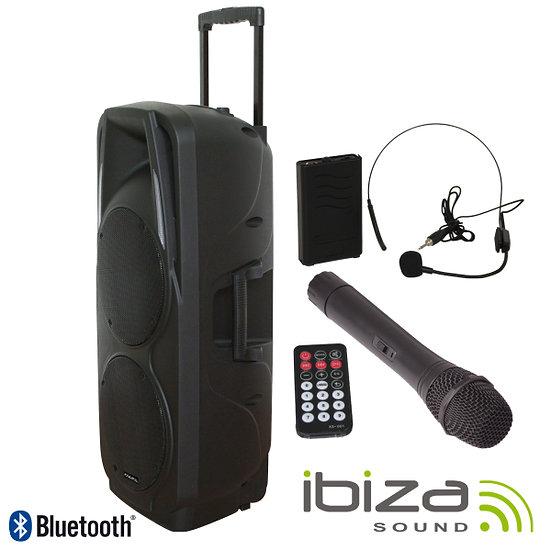 "Coluna Amplificada 2x15"" 1000W USB/BT/SD/Bat Preta IBIZA PORT238VHF-BT"