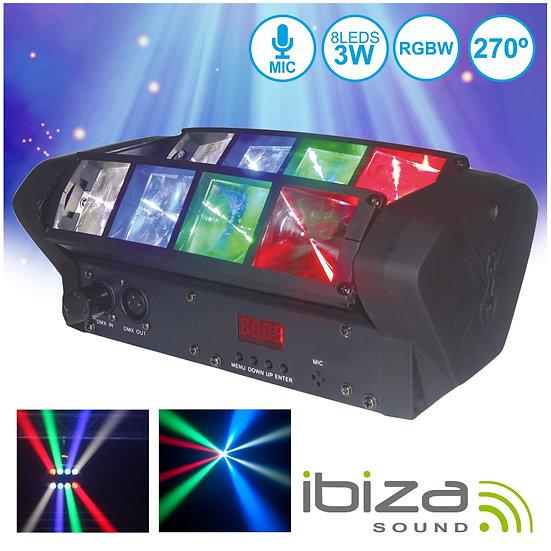 Projetor Luz C/ 8 LEDS 3W CREE RGBW 2 Barras DMX IBIZA LED8-MINI
