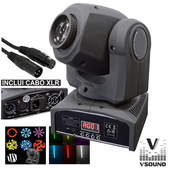 Moving Head 1 LED 12W Luminus 7 Gobos Spot DMX Mic VSOUND LEDMV112W