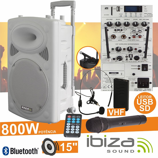 "Coluna Amplificada 15"" 800W USB/BT/SD/Bat Vhf Branco IBIZA PORT15VHF-BT-WH"