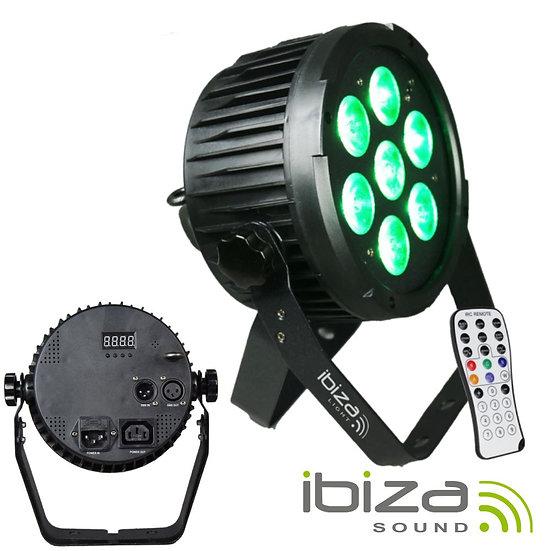 Projetor Luz C/ 7 LEDS RGBWA-UV DMX Comando IBIZA PARLED712IR