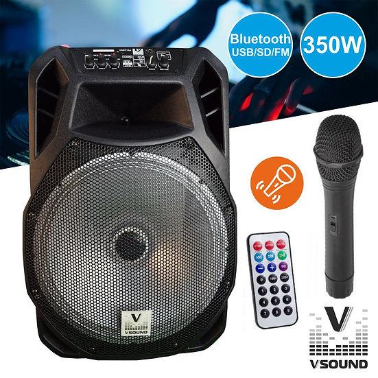 "Coluna Amplificada 15"" FM/USB/BT/SD/BAT LED MIC VSOUND VSSP15A"