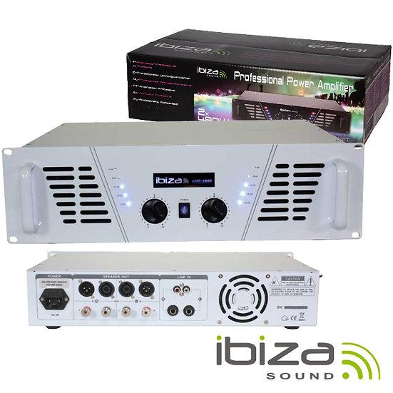 """Amplificador Áudio 19"""" 2x800W Branco IBIZA  AMP1000-WH"""