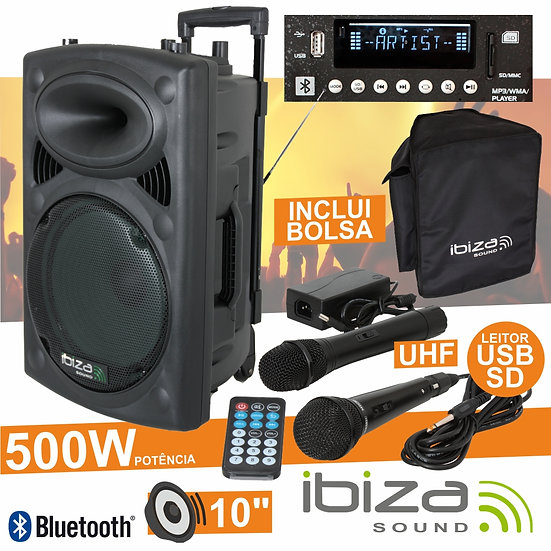 "Coluna Amplificada 10"" 500W USB/BT/SD/Bat Uhf Preta IBIZA PORT10UHF-BT"