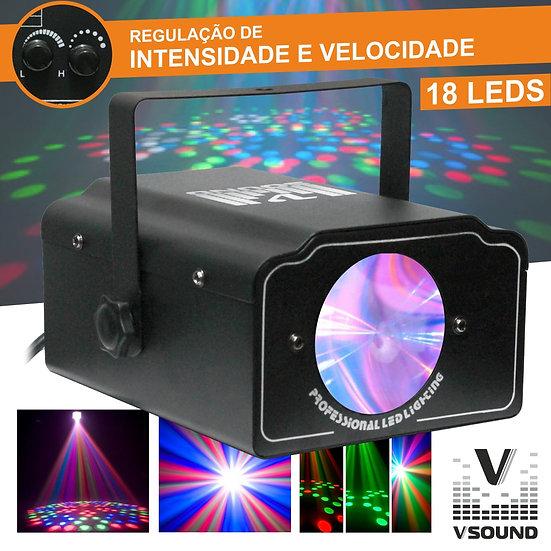 Projetor Luz C/ 18 LEDS RGB Mic VSOUND LEDWING