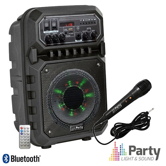 "Coluna Amplificada 6.5"" 200W USB/FM/BT/SD/Bat PretaPARTY-6LED-MKII"