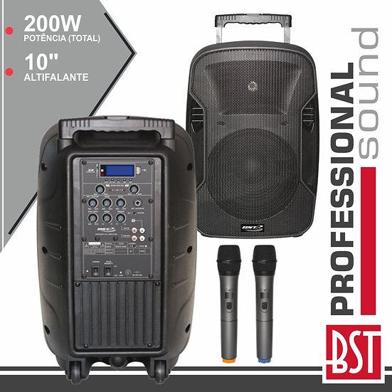 """Coluna Amplificada Pro 10"""" 200W USB/BT/SD/Bat 2 Mic Uhf BSTPWA80"""