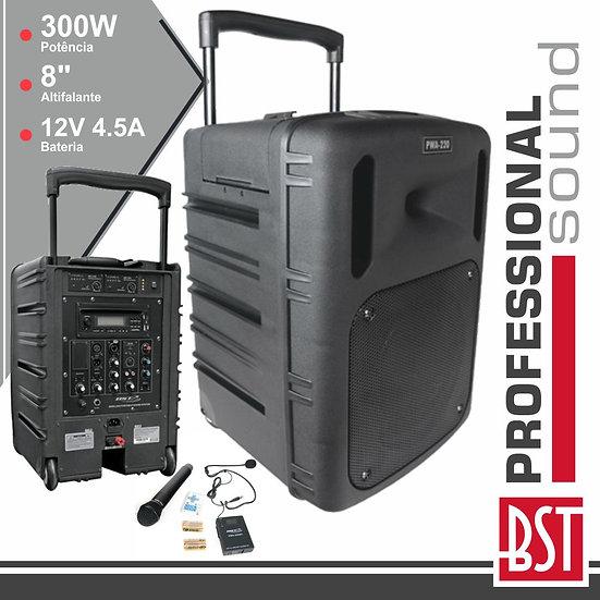 "Coluna Amplificada Pro 8"" 300W Mp3 Cd/USB/BT/SD/BatPWA220"