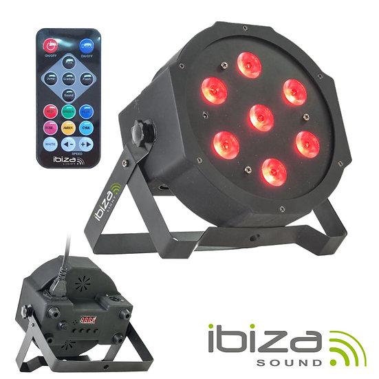 Projetor Luz C/ 7 LEDS RGBW DMX Comando IBIZA PARLED710