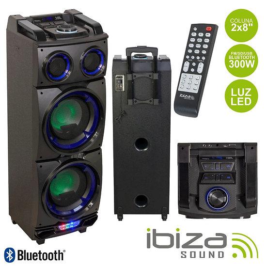 "Coluna Amplificada 2x8"" 300W USB/FM/BT/SD Preta IBIZA STANDUP208"