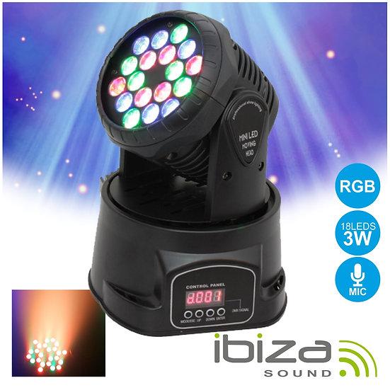 Moving Head Mini 18 LEDS 3W RGB DMX Mic IBIZA  LMH330LED