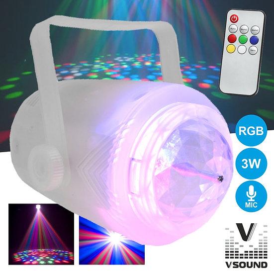 Projetor Luz C/ 3 LEDS 3W RGB Transparente Mic VSOUND VSPROJVS33RGB